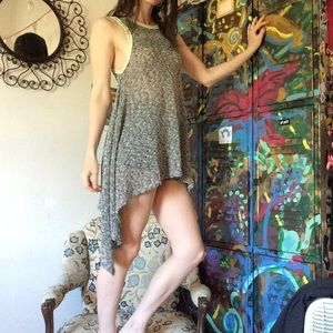 Free People Grey Knit Tiered Sides Tunic